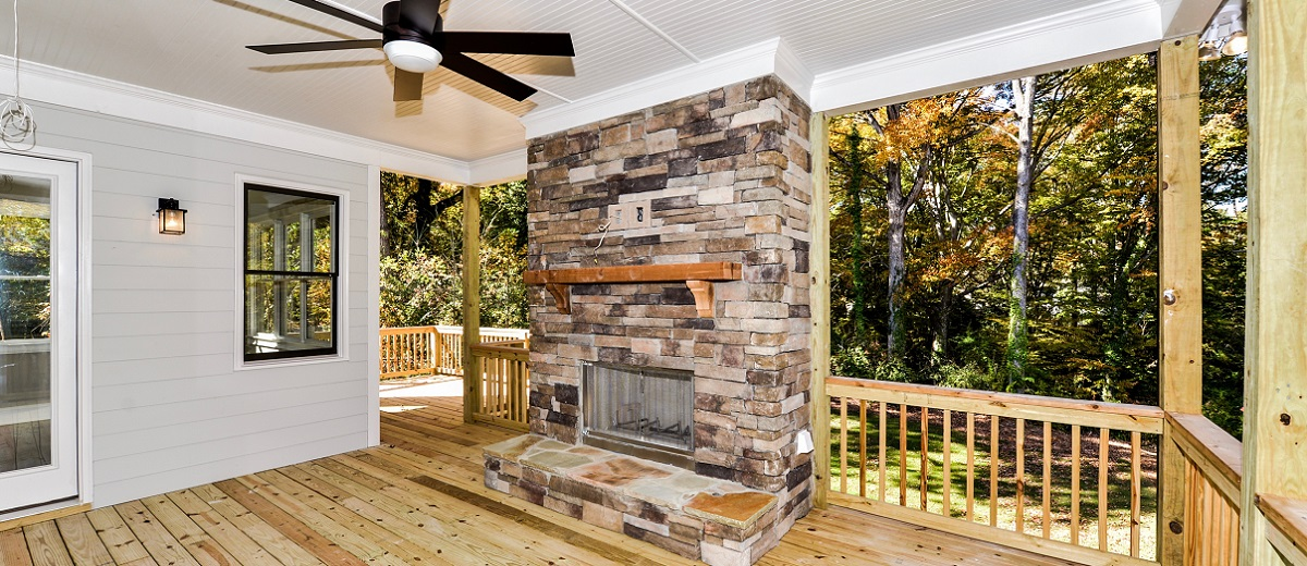 Stone Outdoor Fireplace with Cedar Mantle