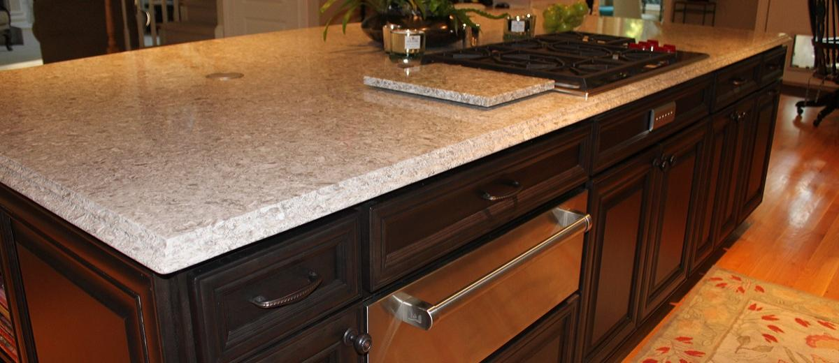 Oversized Quartz Island with Warming Drawer