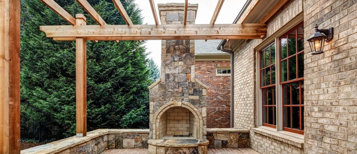 Outdoor Fireplace with Cedar Trellis