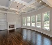 Coffered Ceiling & Built-ins in Family Room in Custom East Cobb home built by Waterford Homes