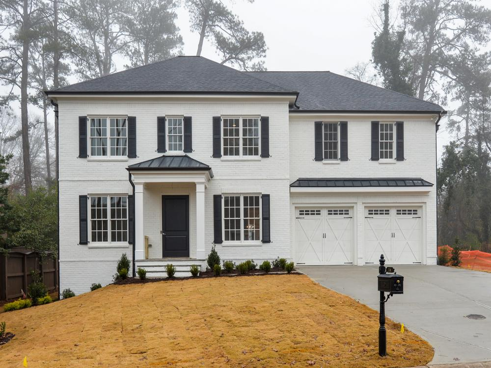 Sandy springs white painted brick classic photo gallery - Colonial house exterior renovation ideas ...