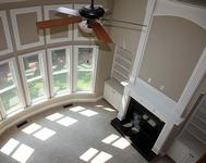 Bowed Window Wall with Shadow Box in this home built by Atlanta Home Builder Waterford Homes